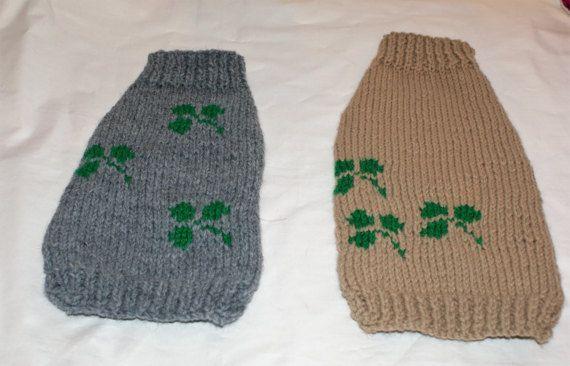 Hand Knitted St Patrick's Day Dog by IrishSmallKnits on Etsy