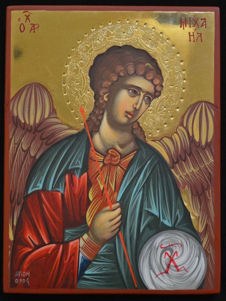 Orthodox Icon Handpainted Greek Byzantine 24k GOLD Archangel Michael ATHOS Style