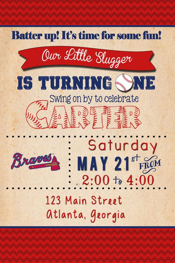 LISTING ----  Baseball birthday invitation digital file with or without photo.  Please note Braves Logo can be removed or swapped out