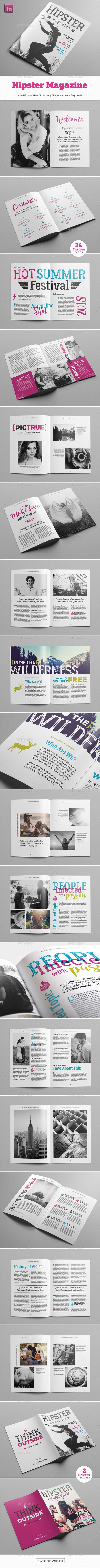 Hipster Magazine — InDesign INDD #clothing #lookbook • Download ➝ https://graphicriver.net/item/hipster-magazine/20151838?ref=pxcr
