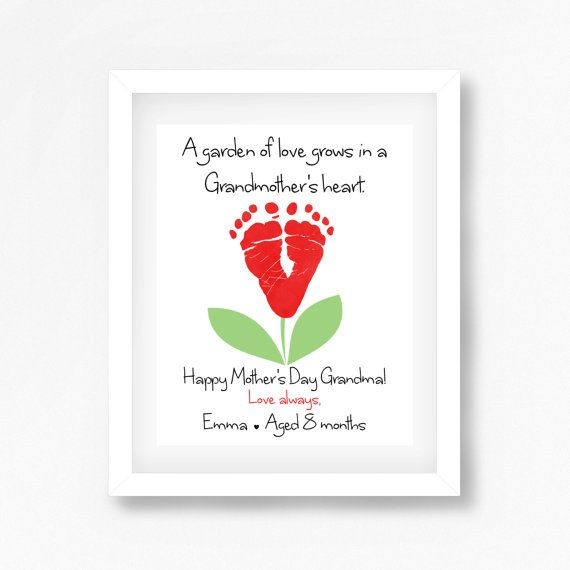 This personalised Mothers Day gift for Grandmother is a beautiful keepsake that can be treasured for years to come. This baby footprint art uses YOUR CHILDS very own footprints, making it a beautiful, personalised gift for Nanny! Printed onto premium gloss paper, this is sure to make a perfect and unique Mothers Day gift for a special Grandmother, Nanny, Nana... or whoever youd like the print addressed to!  To get started, simply take your childs prints using paint, an ink pad or inkless…