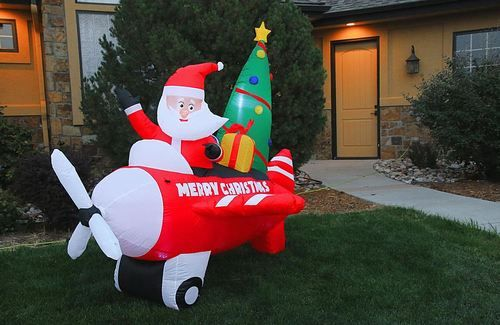 Inflatable airplane christmas decorations for the yard