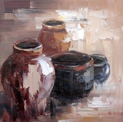 Clay Pots Art | Heavy texture painted with a knife | Oil on canvas | Order any size  Click here to see more: http://www.brushandstrokes.com/art-gallery/product/797