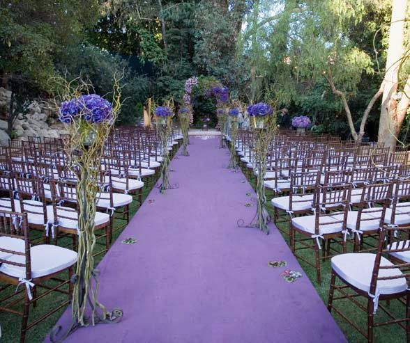 Wedding Altar Line Up: Whimsical Vines Topped With Purple Hydrangeas Line The