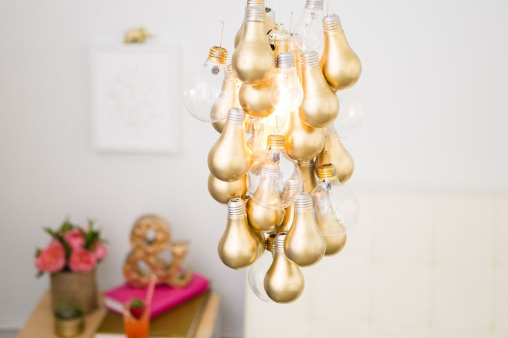 DIY Gold-Dipped Light Bulb Chandelier