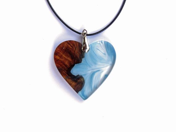 Heart Shaped Necklace. Wood and Resin Pendant. Handmade Jewelry by WoodAllGood. #WoodAllGood