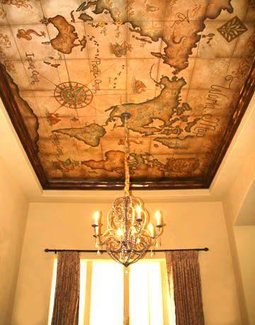 Ceilings & Skies | Celadon Studios | Vintage map mural / wallpaper on ceiling