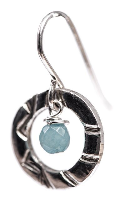 Designed and made by Nuit Nuit -Fine silver Earring with Amazonite