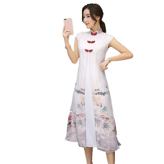 Fasbys Summer Style Chinese Wind Improvement Short Sleeve Ink Print Long Cheongsam Qipao Dress Chi-Pao Traditional Robe Chinoise