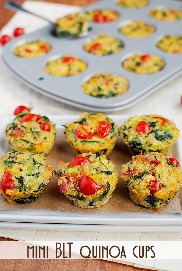 Mini BLT Quinoa Cups  3/4 cup dry quinoa  1-1/2 cups chicken broth (could use water)  2 eggs  3 egg whites  1 cup frozen chopped spinach, thawed and squeezed completely dry  1 cup shredded cheddar cheese  1/2 cup cooked and crumbled bacon (8 slices center-cut)  1/2 cup chopped tomatoes  1 green onion, chopped  2 Tablespoons grated parmesan cheese  salt & pepper