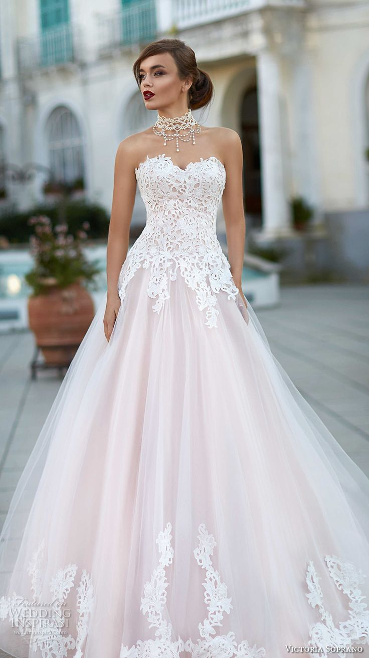216 best images about pink blush gowns on pinterest for Lace a line wedding dress with sweetheart neckline
