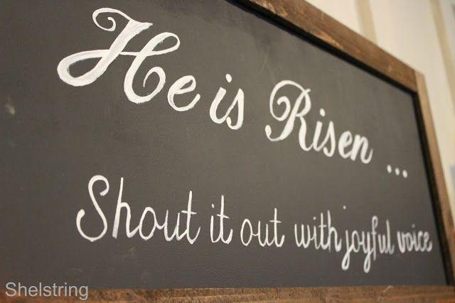 He is Risen chalkboard Easter sign.