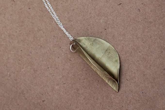 Brass Leaf Pendant  by Jam Jewellery for sale on http://hellopretty.co.za