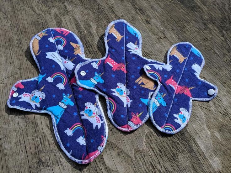 Unicorn Dog print Momma Earth Pads – Re Usable feminine hygiene pads – 3 sizes
