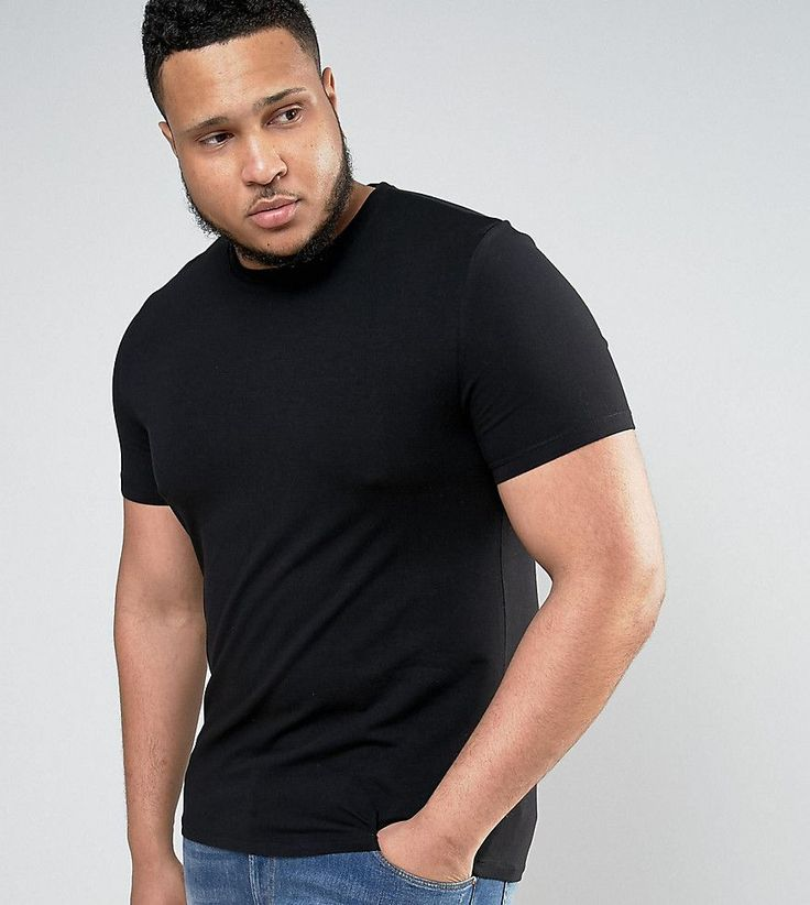 ASOS PLUS Muscle T-Shirt With Crew Neck In Black - Black