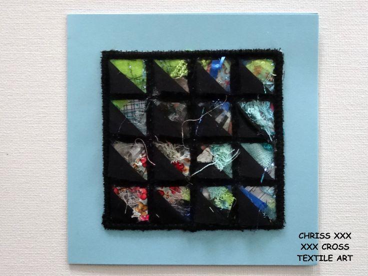 Kunstkaart / Mail Art van Kunst per post Afmeting kaart: 13x13cm (bxh) Afmeting kunstwerk: 8x8cm (bxh) Kleur: turquoise