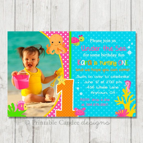 Girl Under the Sea Birthday Invitation - DIY Custom Printable
