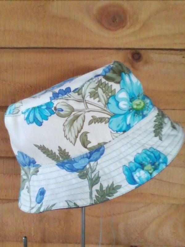 Blue floral reversible denim bucket hat