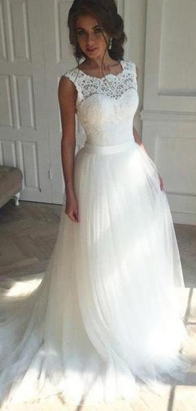 Illusion Lace A-line Cheap Wedding Dresses Online, Cheap Lace Bridal Dresses, WD440
