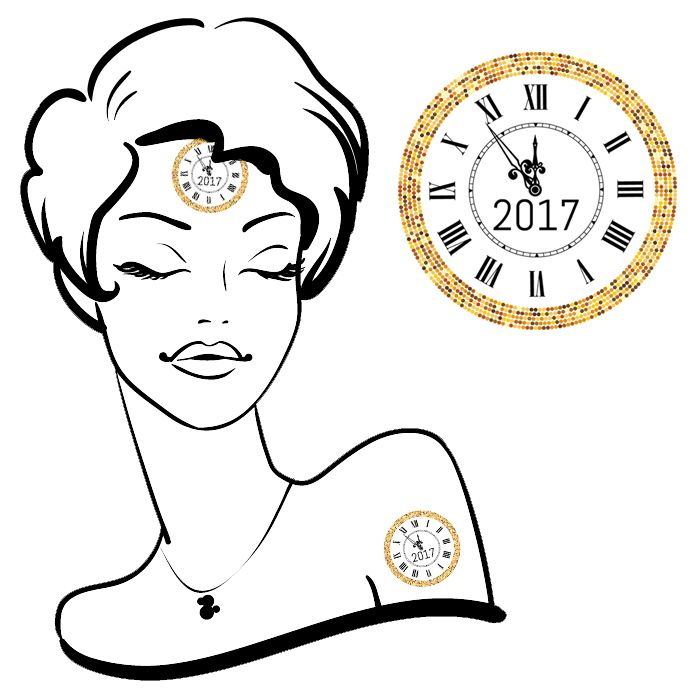 New Years Clock Tattoos #61 (35 pack)