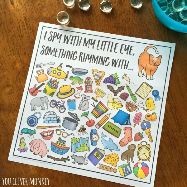 Word Family I Spy Mats - ready to print I Spy mats for common word family patterns. Perfect for literacy centers or Daily 5 Word Work, these I Spy CVC word mats are a fun way to hear and identify rhyme   you clever monkey