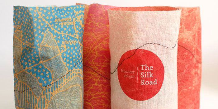 The silk road    reversible fabric packaging uses textures, patterns, and design to set a tone and tell a story about the rice inside.