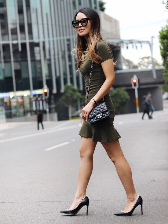 Army Green Dress With Frill Details