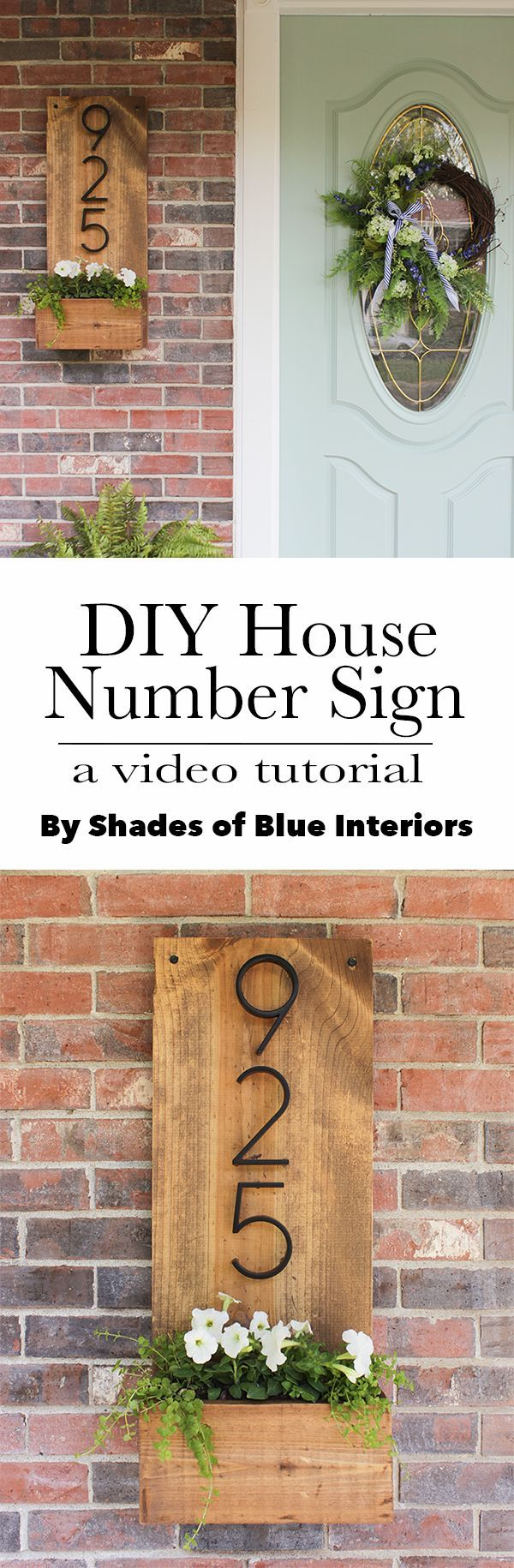 DIY House Number Sign- how to make one from 2 boards and give a weatherproof, natural topcoat.