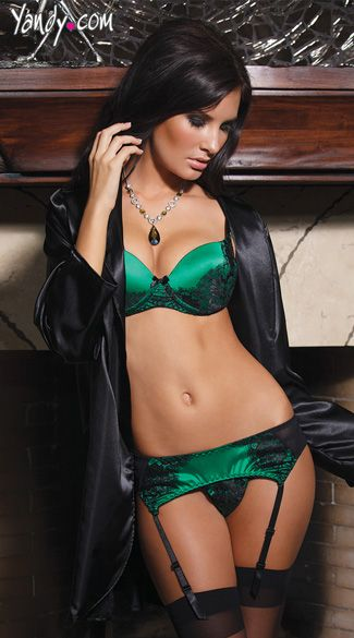 Green Satin Bra And Garter Set Sexy Green Lace And Cute
