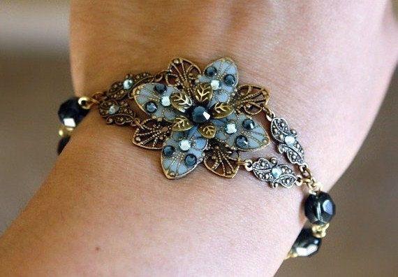 Flower bracelet earrings  - blue swarovski crystal gift set czech glass romantic bracelet