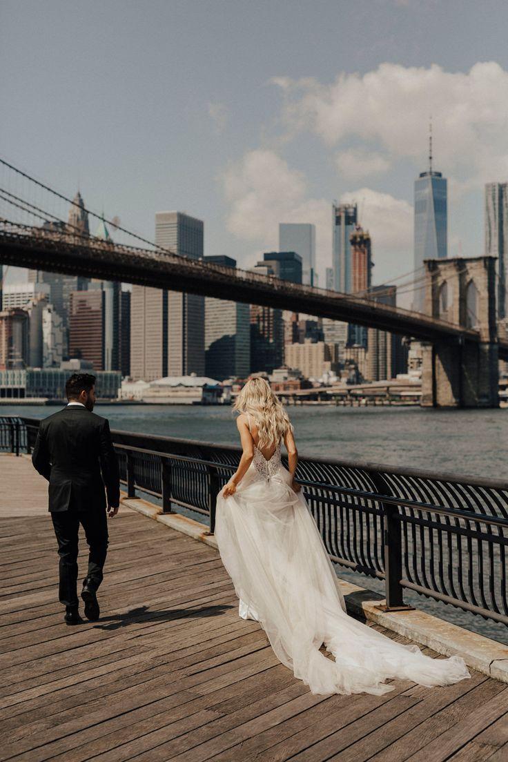 Stylish New York City Elopement at Pier 6 at Brooklyn Bridge Park with Galia Lahav Gown