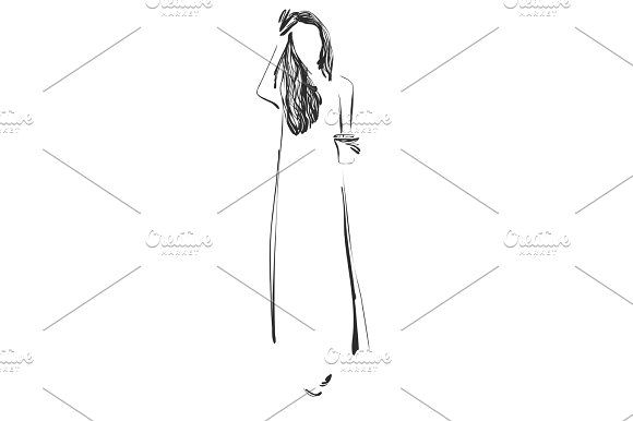 Beautiful young girl model for design. Fashion, style, beauty .Graphic, sketch drawing. by Pylypchuk25 on @creativemarket