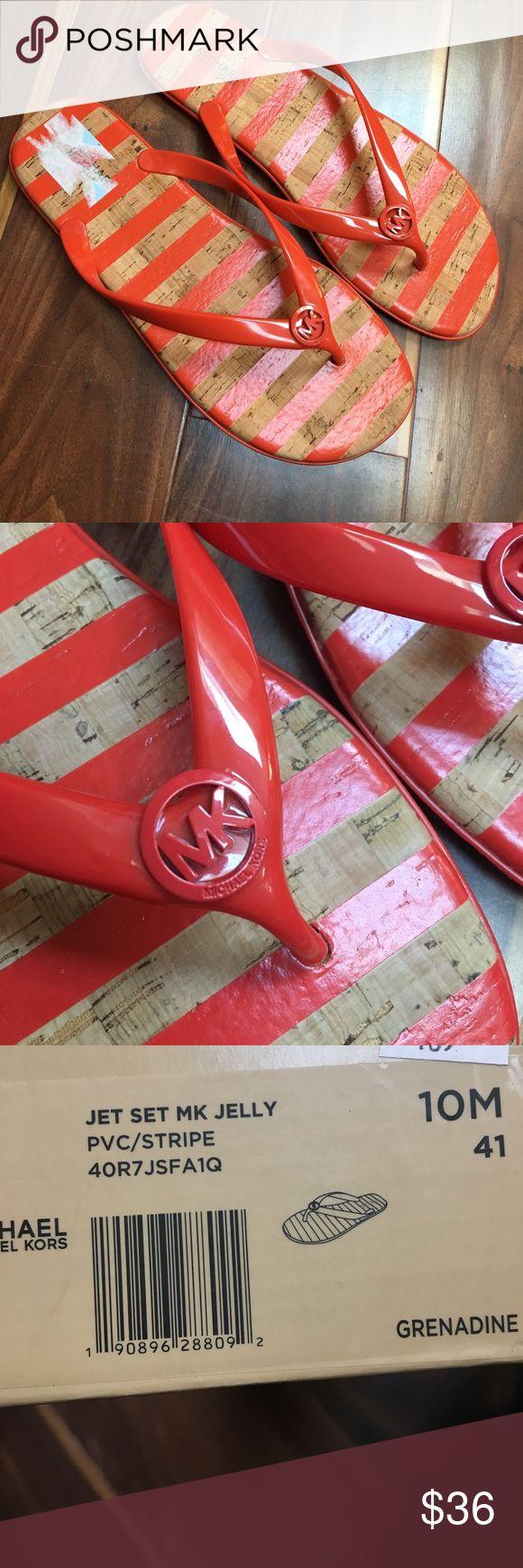 NIB Michael Kors Jet Set Jelly PVC Flip Flip sz 10 NO OFFERS, please!!  BRAND NEW in BOX  MK Jet Set Jelly PVC Stripe Flip Flops  Colors: GRENADINE  Size 10 Michael Kors Shoes Sandals