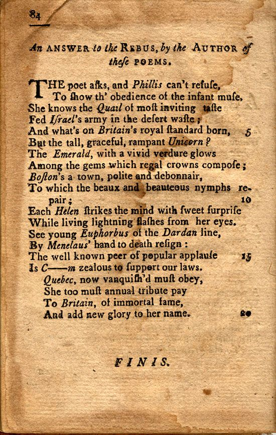 imagery in wheatleys poems In phillis wheatley's poem, to the right honorable william, earl of dartmouth, his majesty's principal secretary of state for north america, phillis demonstrates her understanding of forms of poetry and literature as well as her skill as a writershe uses pastoral imagery and lyricism as a mask for her social criticism within the text.