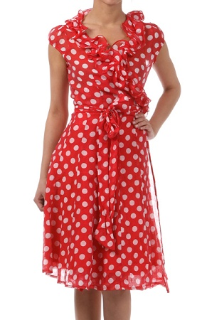 LOVE this Polka Dot Ruffle Wrap Dress from NoVae Clothing! So flattering and cute for summer!