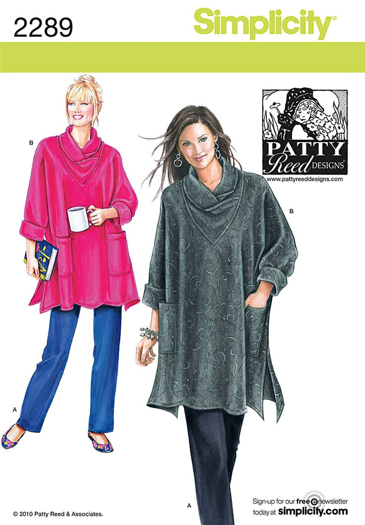 Sew comfy Misses' & Women's plus size loose-fitting tunic and knit pants. DIY with Simplicity pattern 2289.