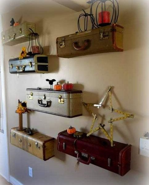 ideas for Old Suitcase Vintage Luggage   Recycling Old Suitcases for Wall Shelves, Vintage Furniture