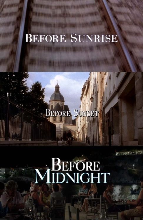 Best movie trilogy... ever.  I've been hearing about these for a long time and finally got around to watching - just binged on all 3 in a row.  I usually hate romantic movies but these are different.  Brilliant writing.