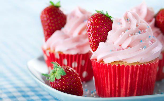 Sommerliche Erdbeer-Cupcakes