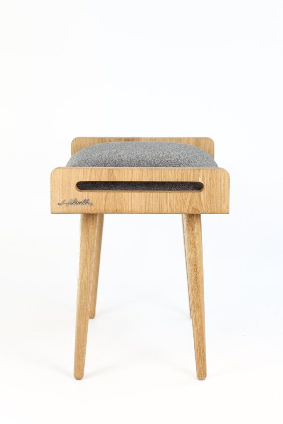 Bench Made Of Solid Oak Table Legs Upholstered In Cold Wool Gray
