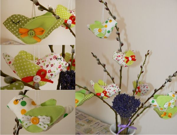krásne pestré vtáčiky na zavesenie 3 farebné varianty, vyrobené z bavlny a vyplnené polyesterovým rúnom, ozdobené stuškami a gombičkami, vhodné ako dekorácia na zavesenie na Veľkú noc kdekoľvej, na maňušky, do okna Veľkosť: 11 cm