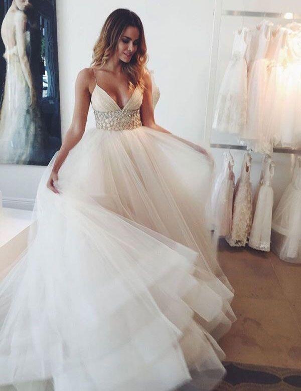 Elegant Spaghetti Straps A-line Rhinestone Wedding Dress Bride Gown, empire wedding dresses, wedding party dresses, long wedding dresses, bridal gown wedding dresses