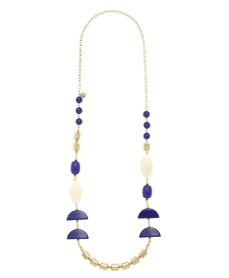 Collana lunga con mezzelune blu e perline bianche, blu e dorate