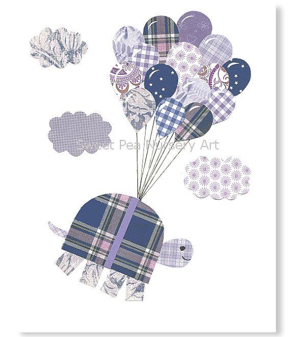 Purple and navy nursery Girl Nursery Art by SweetPeaNurseryArt, $22.00