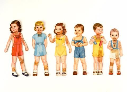 Janey, Peggy, Pam, Jimmy, Tommy, and Ted... Add this classic paper doll set to your collection, or turn it into something new! This paper doll set and clothing