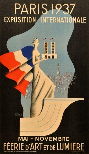 Paris 1937 - original vintage poster by Bernard Villemot and Paul Bouissoud listed on AntikBar.co.uk