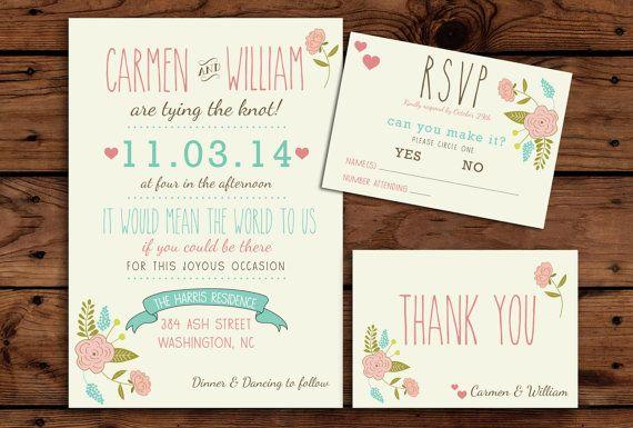 Printable Wedding Invitation Bundle // Cute Floral Invite // RSVP // Thank You Card // Casual Wedding Invitation // Fun Wedding Invitation
