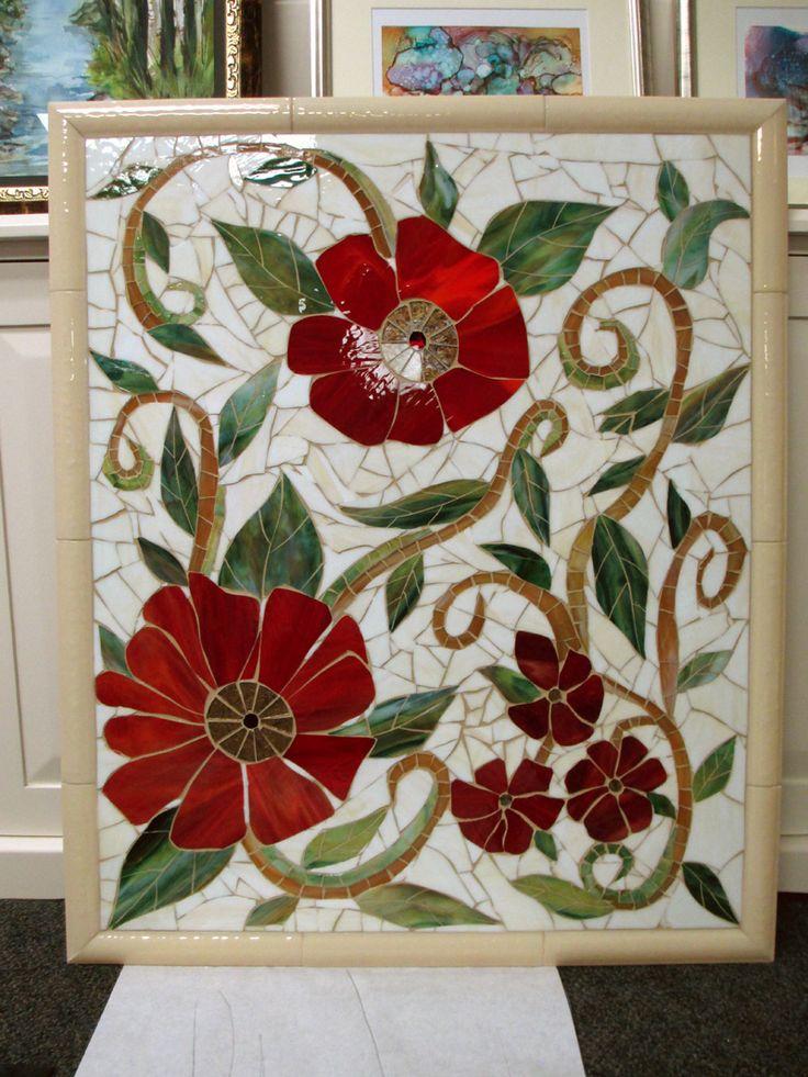 Large Red Floral Mosaic Mural | Designer Glass Mosaics | Designer Glass Mosaics