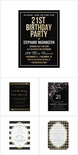 Formal Black 21st Birthday Party Invitations