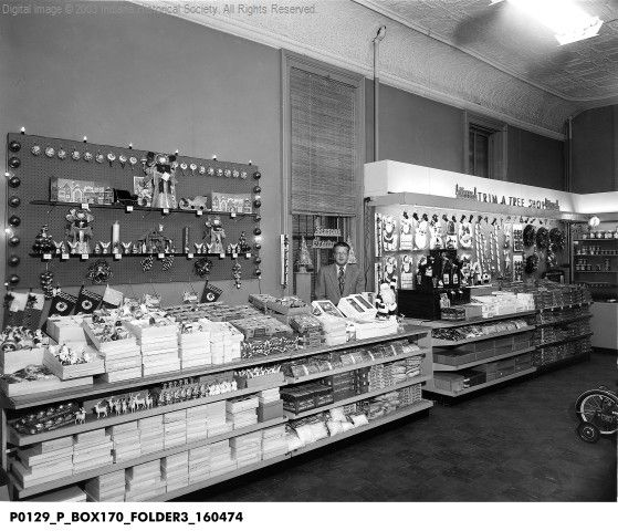 Trim-a-Tree Shop in the Root Store, Terre Haute, Indiana 1953